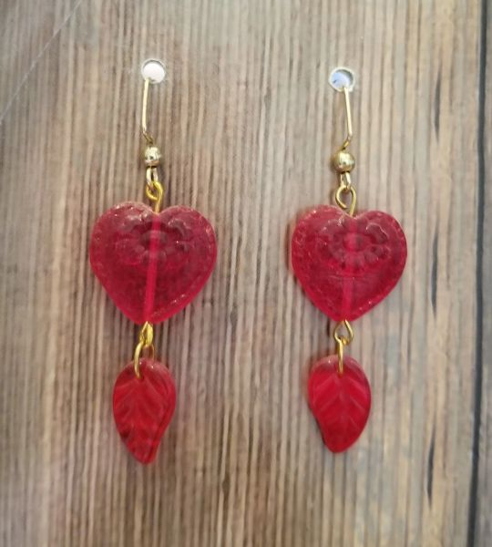 Romantic Red Czech Glass Hearts with Leaf Dangles