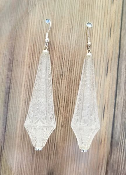 Salvaged Etched Lucite Teardrop Earrings