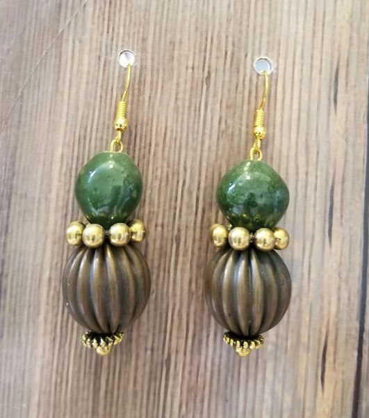 Boho Copper & Green Beads with Gold Accents