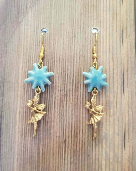 Golden Tinkerbell Fairy Charms with Blue Ceramic Stars