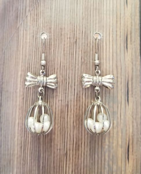 Silver Cage Earrings with Pearls