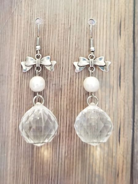 Faceted Crystal Drops with Silver Bow Accents