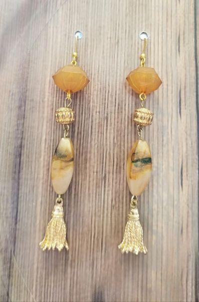 Light Orange Dangle Earrings with Gold Tassels