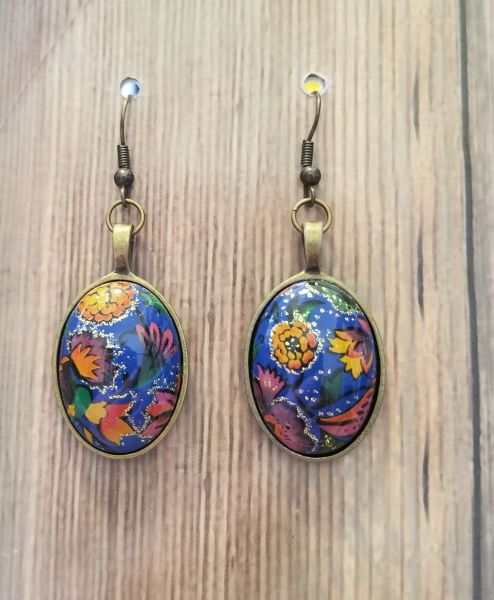 Gorgeous Blue Floral Cabochons in Antique Gold Settings