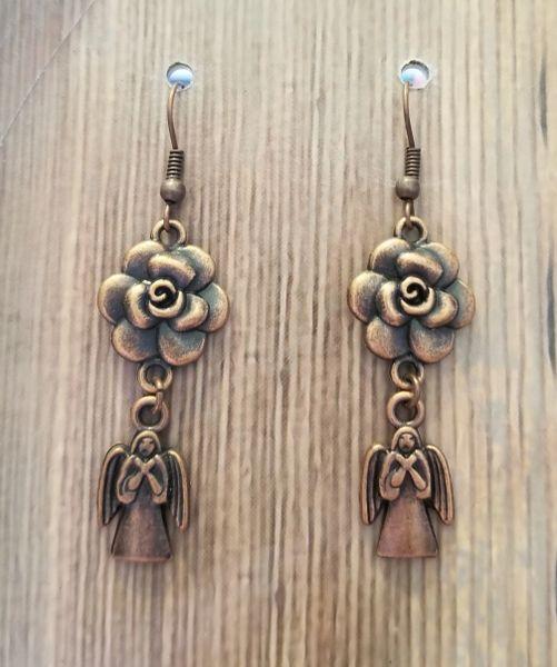 Copper Roses & Angels Earrings