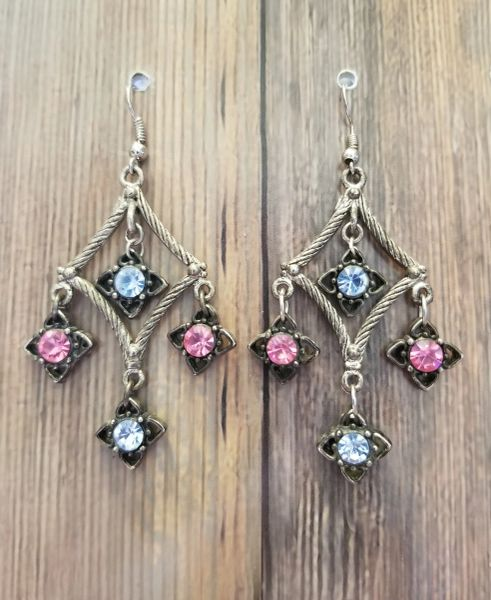 Diamond Chandeliers with Salvaged Crystal Pink & Blue Dangles
