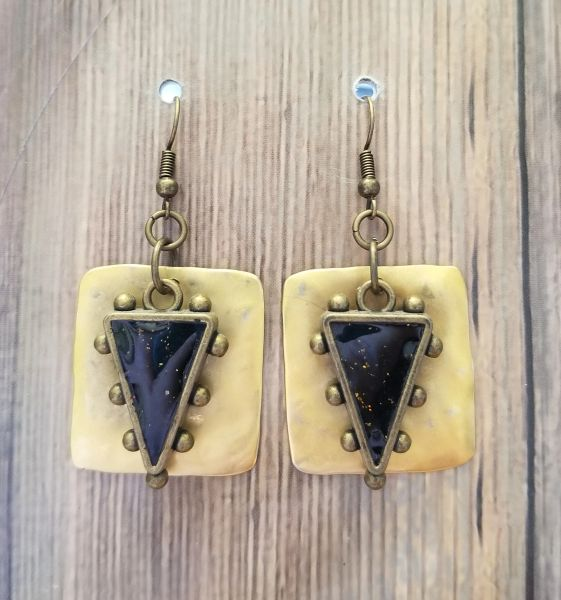 Tribal Look Hand Poured Resin Drops with Gold Accent
