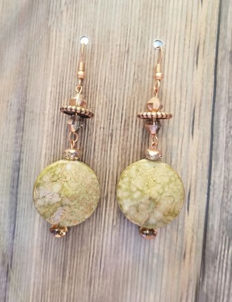Green Marble-Look Beads with Copper Accents