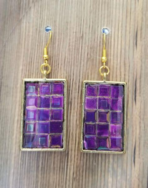 Hand Set Purple Rhinestones in Gold Settings
