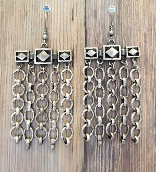 Industrial Silver Chain Earrings Made from Broken Bracelet