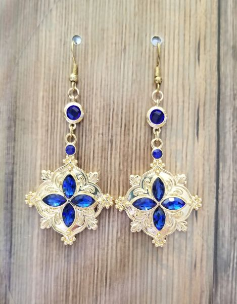 Eleegant Golden Charms with Cobalt Blue Glass Accents