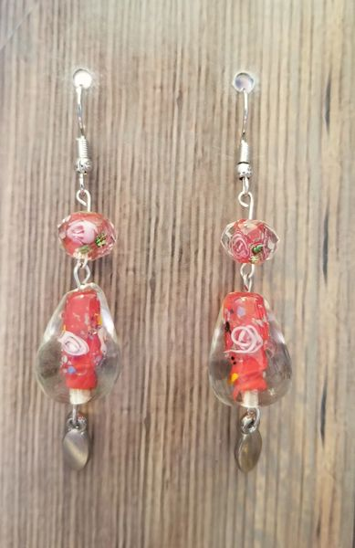 Red Floral Glass Teardrops with Silver Accents
