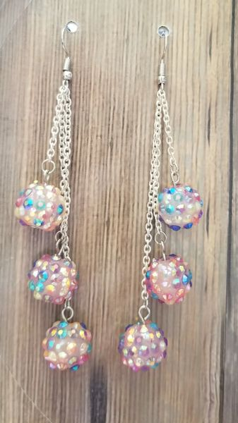 Pink Irridescent Bumpy Bead Dangles