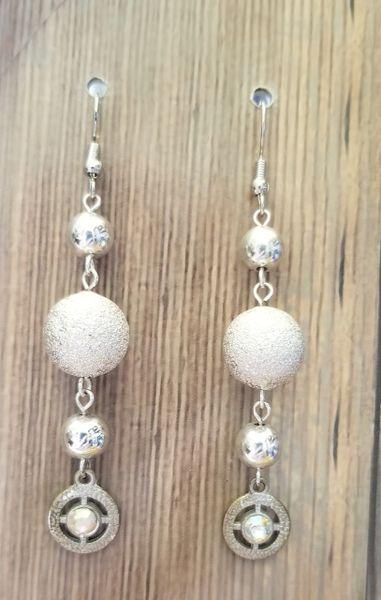 Silver Beads with Rhinetone Dangles Wedding Earrings