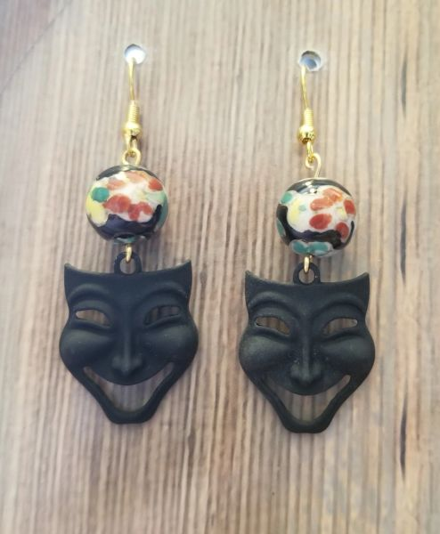 """Fun """"Comedy"""" Mask Charms with Black Floral Ceramic Beads"""