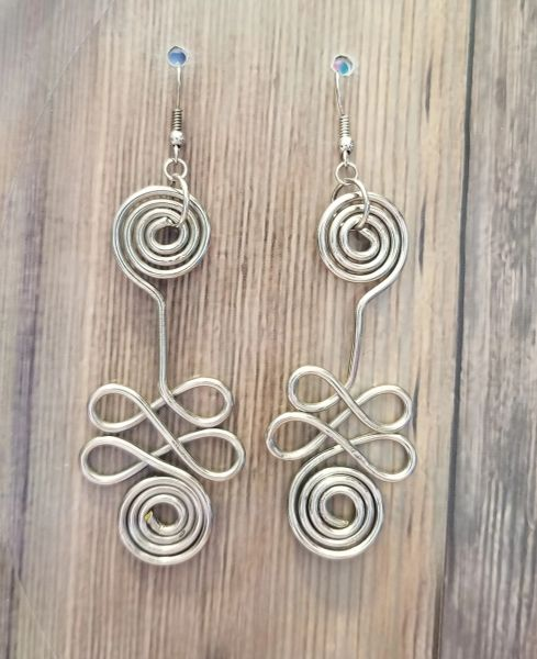 Salvaged Silver Swirled Wire Earrings