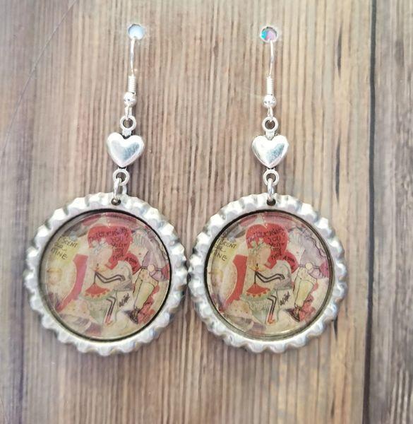 Kitschy Retro Valentines Earrings in Silver Settings