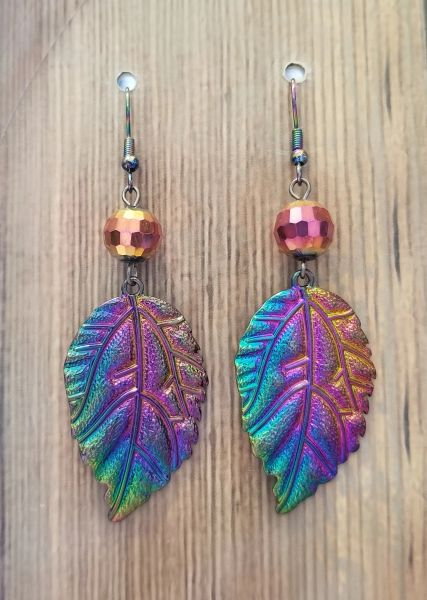 Vibrant Blue/Purple/Green Irridescent Leaf Earrings