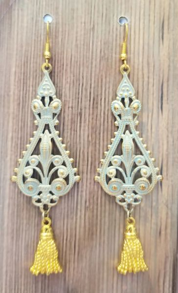 Gold Filigree Dangles with Pale Blue Patina