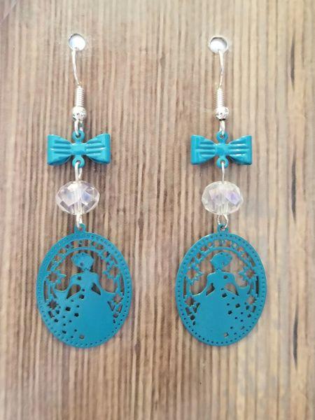 Medium Blue Fairy Tale Princess Earrings with Crystal Beads