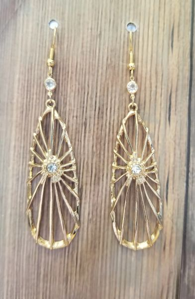 Golden Web Teardrops with Rhinestone Accents