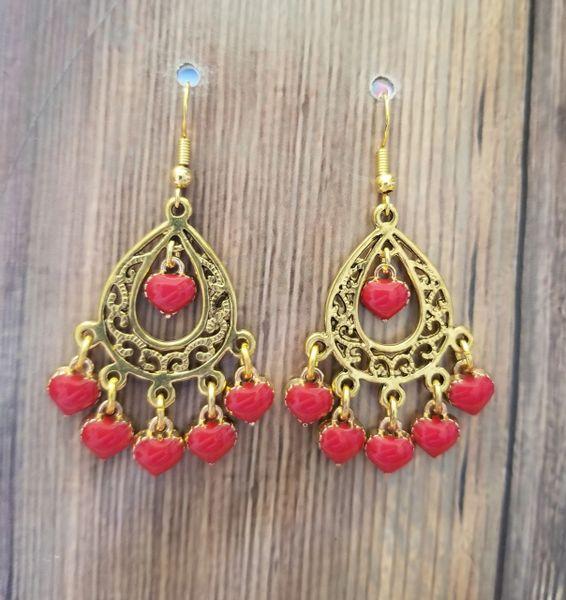 Gold Chandelier with Red Enamel Heart Dangles