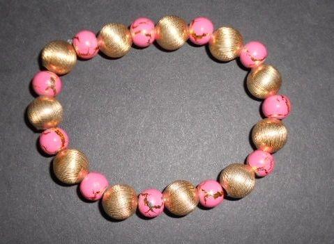 Pink & Gold Stretch Bracelet