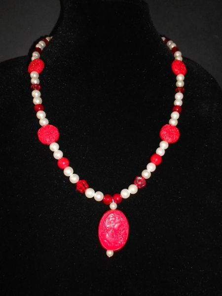 Faux Pearl and Red Cinnabar Asian Themed Necklace
