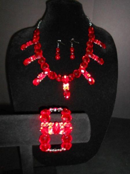 Ruby Red Necklace/Bracelet/Earrings Set