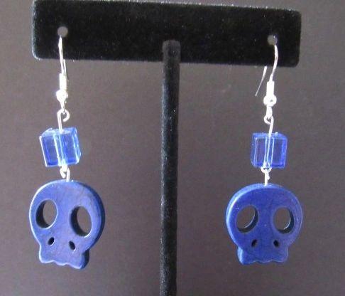 Blue Howlite Skull Earrings