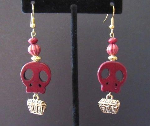 Maroon Skull & Treasure Chest Earrings