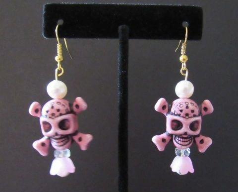 Pink Skull Blossom Earrings