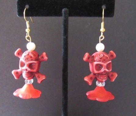 Red Pirate Skull Flower Earrings