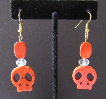 Orange Skull Stone Bead Earrings