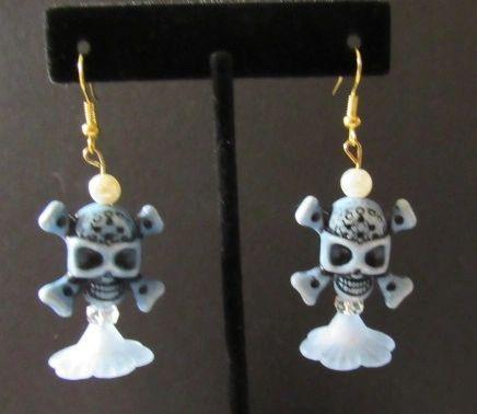 Blue Skull & Blossom Earrings