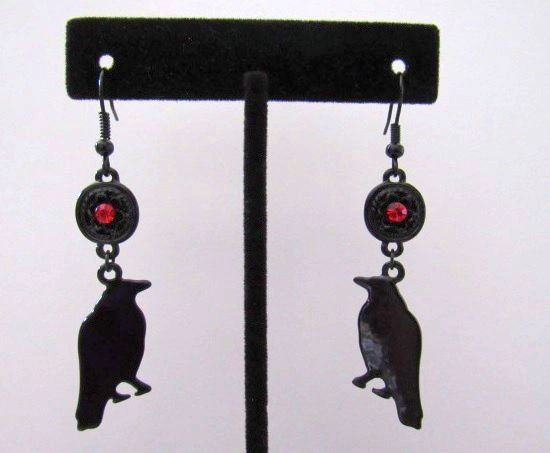 Black Raven Dangle Earrings