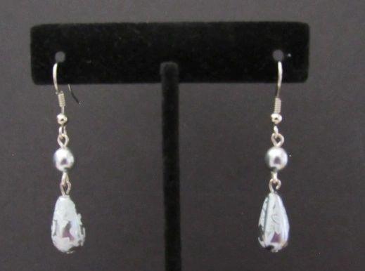 Gray Lace Wedding Dangle Earrings