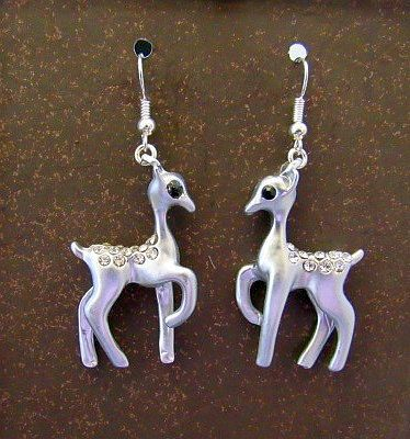Silver Deer with Rhinestone Accents Earrings