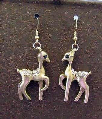 Golden Deer with Rhinestone Accents Earrings