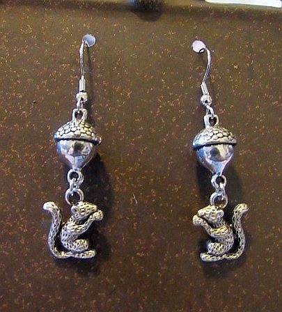 Silver Squirrel & Acorn Earrings