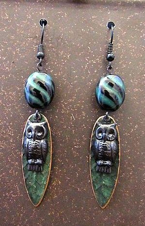 Black & Green Owl Dangle Earrings