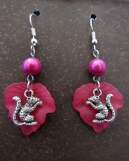 Silver Squirrels with Pink Leaf Earrings
