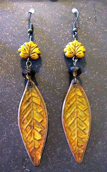 Rustic Yellow Leaf Dangle Earrings