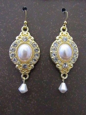 Gold, Pearl & Rhinestone Wedding Earrings