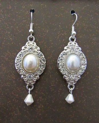 Silver, Pearl & Rhinestone Wedding Earrings