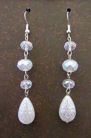 Etched Bead Drop Wedding Earrings
