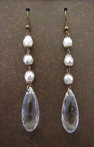 White Rosary Beads & Clear Crystal Wedding Earrings