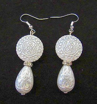 Pearlized Etched Dangles with Rhinestone Accennt Earrings