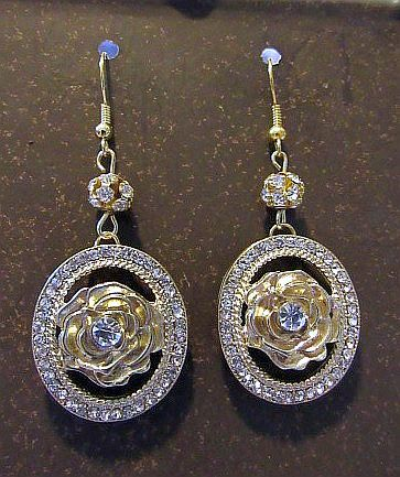 Silver & Gold Rose Dangles with Rhinestone Accents