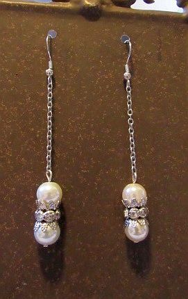 Double Pearl Long Dangles with Rhinestone Accents